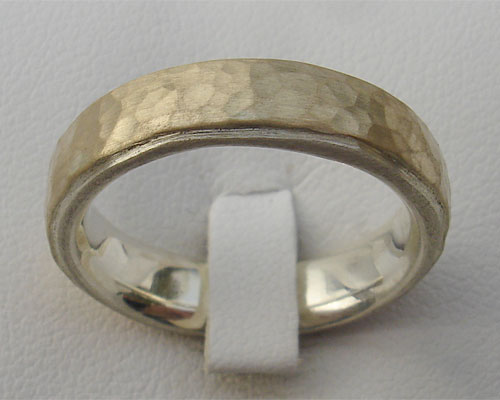 Hammered Gold & Silver Wedding Ring
