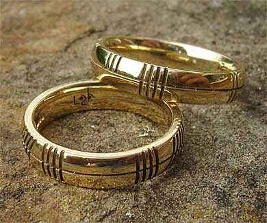 Gold Ogham rings