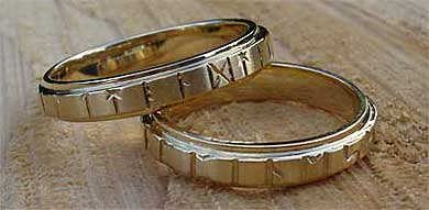 Mens Gold Runic Wedding Ring LOVE2HAVE in the UK