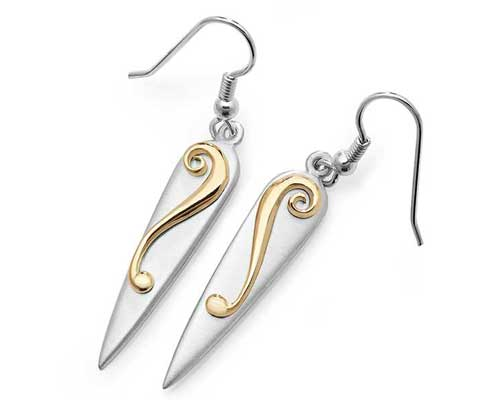 Celtic Gold & Silver Drop Earrings