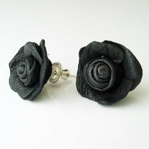 Gothic Black Rose Earrings