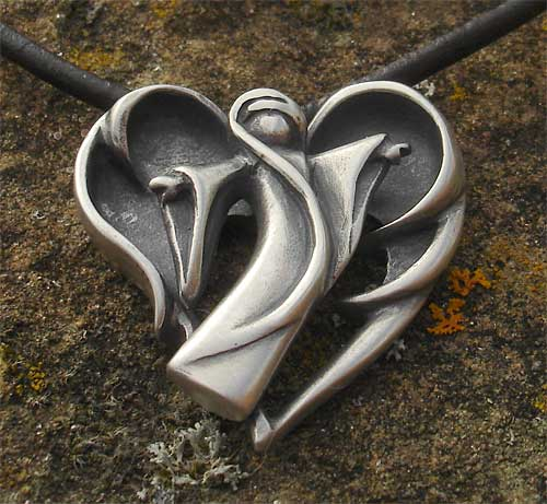Gothic Angel Oxidised Silver Heart Necklace