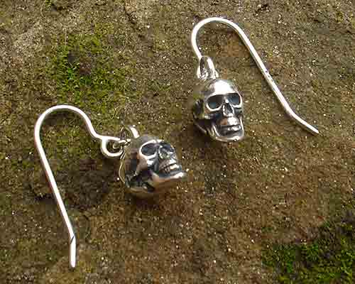Gothic Sterling Silver Skull Drop Earrings