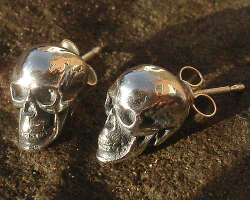 Gothic Sterling Silver Skull Stud Earrings