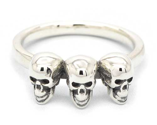 Gothic Sterling Silver Skulls Ring