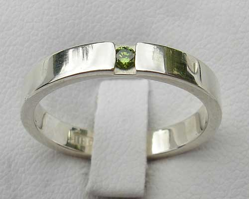 Green Diamond Silver Engagement Ring