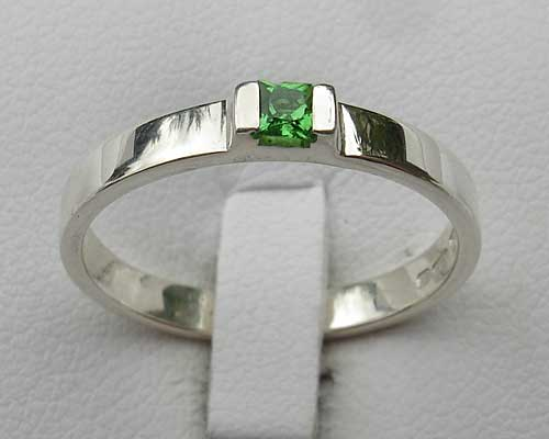 Princess Cut Green Garnet Engagement Ring