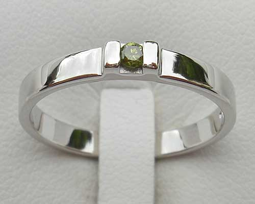 Green Sapphire Contemporary Silver Engagement Ring