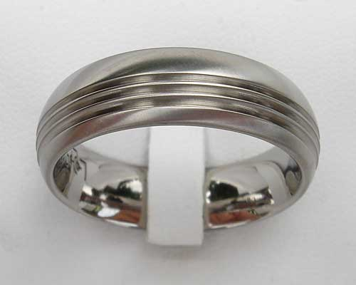 Grooved Designer Titanium Wedding Ring