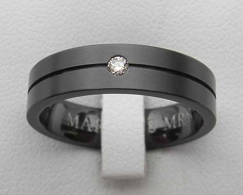 Size T Black Zirconium Diamond Wedding Ring