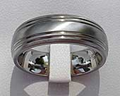 Domed wedding ring in titanium