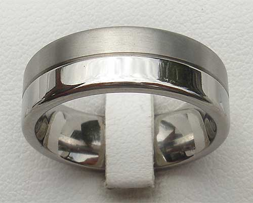 Half Polished Half Matt Titanium Wedding Ring