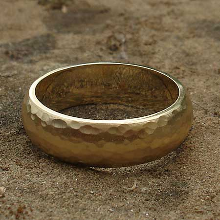 Hammered 9ct gold wedding ring