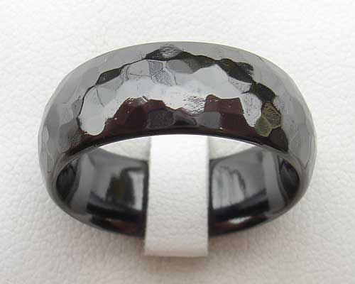 Hammered Finish Black Ring