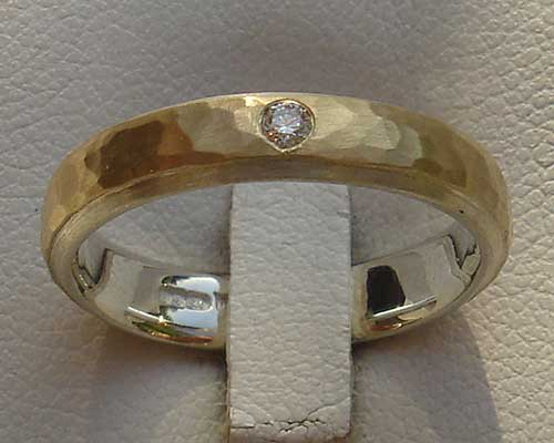 Hammered Gold & Silver Diamond Wedding Ring