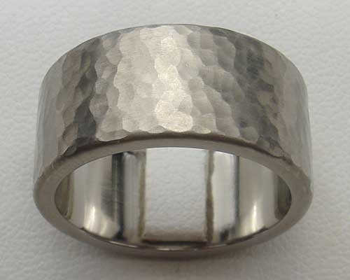 Mens Hammered Titanium Wedding Ring