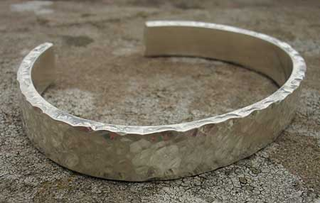 Hammered Silver Bracelet For Men