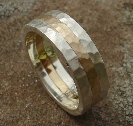 Hammered silver and gold wedding ring