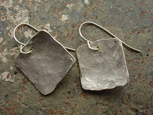 Hammered silver hook earrings