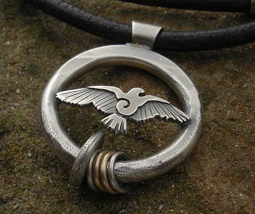 Raven Silver Pendant on Leather Thong