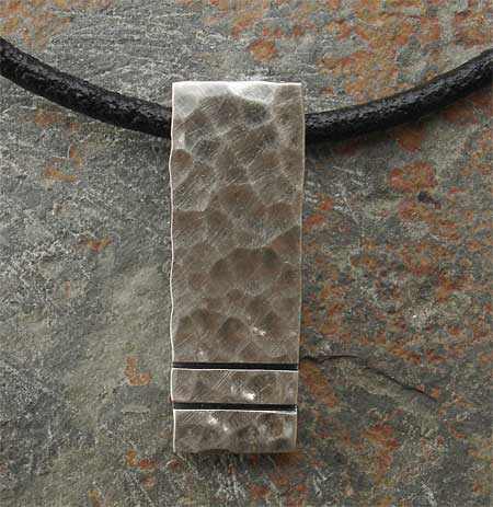 Hammered silver pendant for men