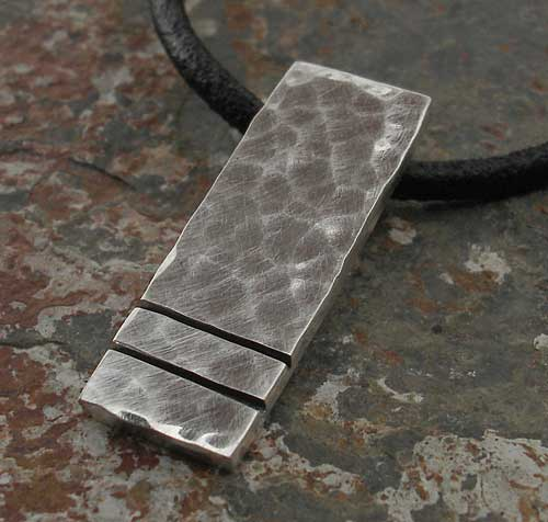 Modern Hammered Silver Pendant