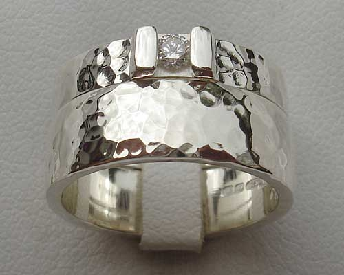 Hammered silver wedding rings set