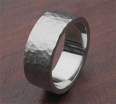 mens hammered steel wedding ring lovehave in the uk