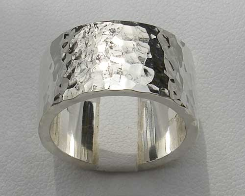 Flat Profile Hammered Silver Ring