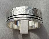 Hammered sterling silver wedding ring for men