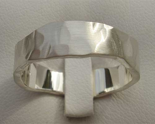 Hand Hammered Beaten Silver Ring