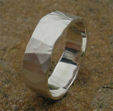 Hammered sterling silver wedding ring
