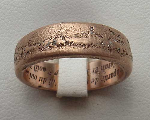 Handmade 9t rose gold wedding ring