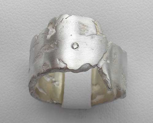 Handmade silver diamond wedding ring