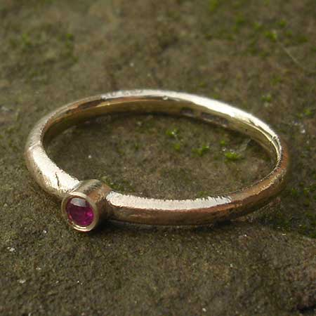 Handmade gold ruby engagement ring