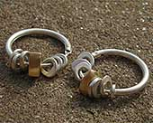 Handmade gold and silver hoop earrings