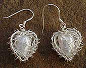 Handmade heart silver earrings