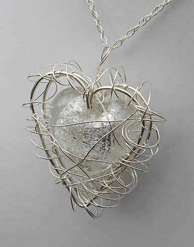 Handmade heart silver necklace for women
