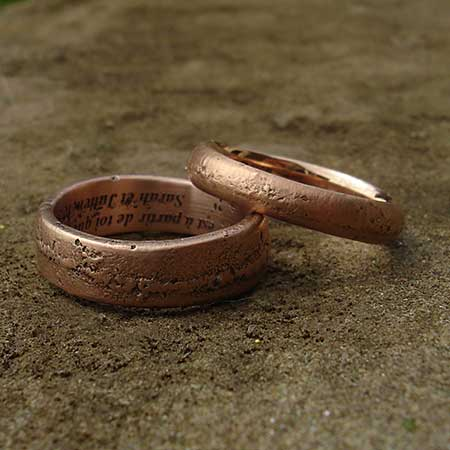 Handmade rose gold wedding rings