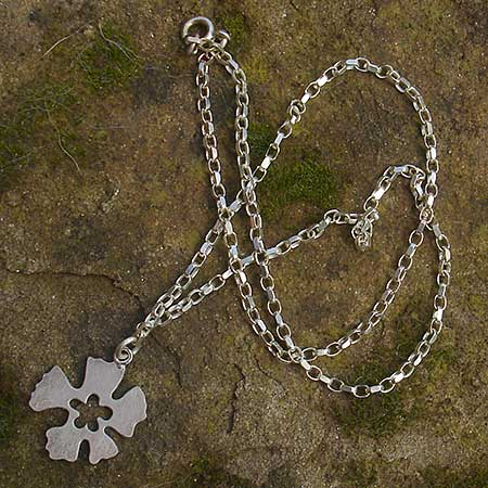 Handmade silver flower necklace