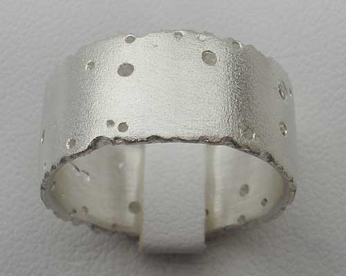 10mm Wide Silver Textured Ring