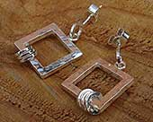 Silver handmade square earrings