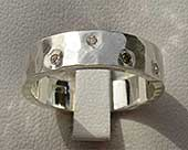 Handmade sterling silver diamond wedding ring