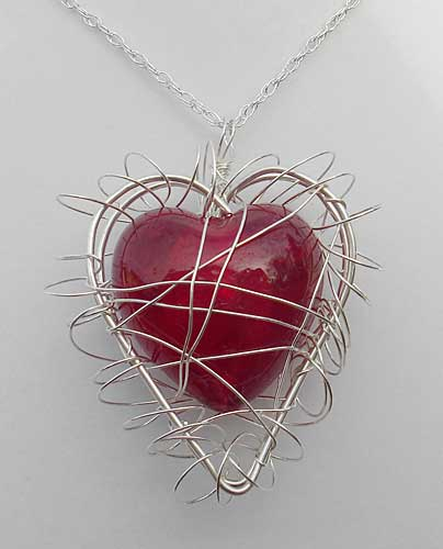 Handmade women's silver heart necklace