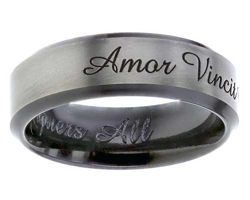 Handwritten personalised wedding ring