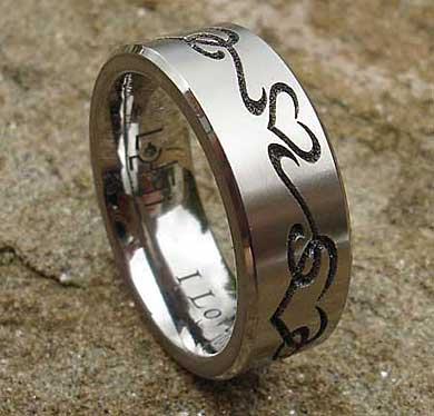 Heart titanium ring