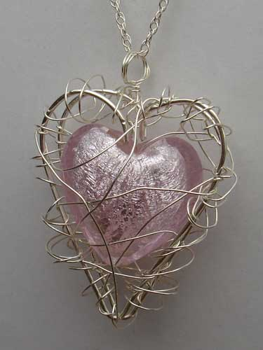 Womens Handmade Pink Heart Silver Necklace