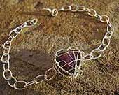 Heart sterling silver chain bracelet