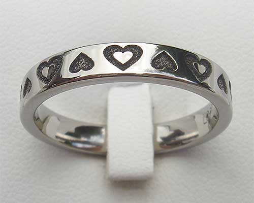 Women's Titanium Ring With Hearts