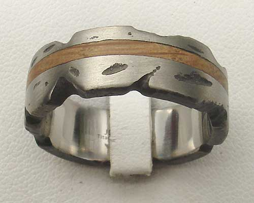 Textured silver and wooden ring